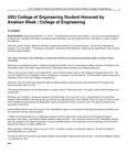 USU College of Engineering Student Honored by Aviation Week