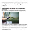 Growing Algae in Produced Water | College of Engineering