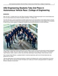 USU Engineering Students Take 2nd Place in Autonomous Vehicle Race | College of Engineering