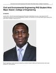 Civil and Environmental Engineering PhD Student Wins Major Award | College of Engineering
