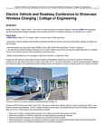 Electric Vehicle and Roadway Conference to Showcase Wireless Charging | College of Engineering