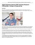 Aggie Engineers Receive NSF Graduate Research Fellowships | College of Engineering