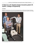 In Need of a Lift: Students Design Innovative Patient Lift System | College of Engineering