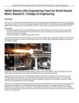 NASA Selects USU Engineering Team for Small Rocket Motor Research | College of Engineering