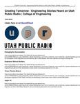 Creating Tomorrow - Engineering Stories Heard on Utah Public Radio | College of Engineering