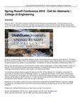 Spring Runoff Conference 2016 - Call for Abstracts | College of Engineering