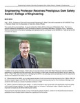 Engineering Professor Receives Prestigious Dam Safety Award | College of Engineering