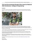 Civil and Environmental Student Wins Award at National AGU Conference   College of Engineering