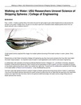 Walking on Water: USU Researchers Unravel Science of Skipping Spheres | College of Engineering