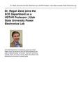 Dr. Regan Zane Joins the ECE Department as a USTAR Professor | Utah State University Power Electronics Lab