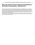 Mark and Jennifer Erickson Endowment Established in the School of Accountancy
