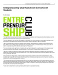 Entrepreneurship Club Hosts Event to Involve All Students