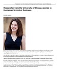 Researcher from the University of Chicago comes to Huntsman School of Business