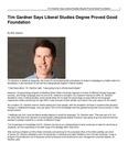 Tim Gardner Says Liberal Studies Degree Proved Good Foundation