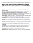 Watch Some of the Excellent Presentations from the 36th Annual Accounting Conference