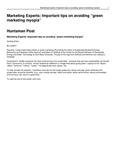 """Marketing Experts: Important Tips on Avoiding """"Green Marketing Myopia"""""""