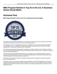MBA Program Ranked in Top 25 in the U.S. in Business School Social Media