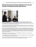 Entrepreneurship Club Draws Students From Across Campus to Entrepreneurship Week Events