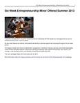Six-Week Entrepreneurship Minor Offered Summer 2013