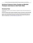 Huntsman Professors Kathy Chudoba and Merideth Thompson Interviewed on Utah Public Radio