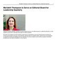 Merideth Thompson to Serve on Editorial Board for Leadership Quarterly