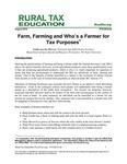 Farm, Farming and Who's a Farmer for Tax Purposes