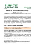 Lease vs. Purchase of Machinery by Warren Lee